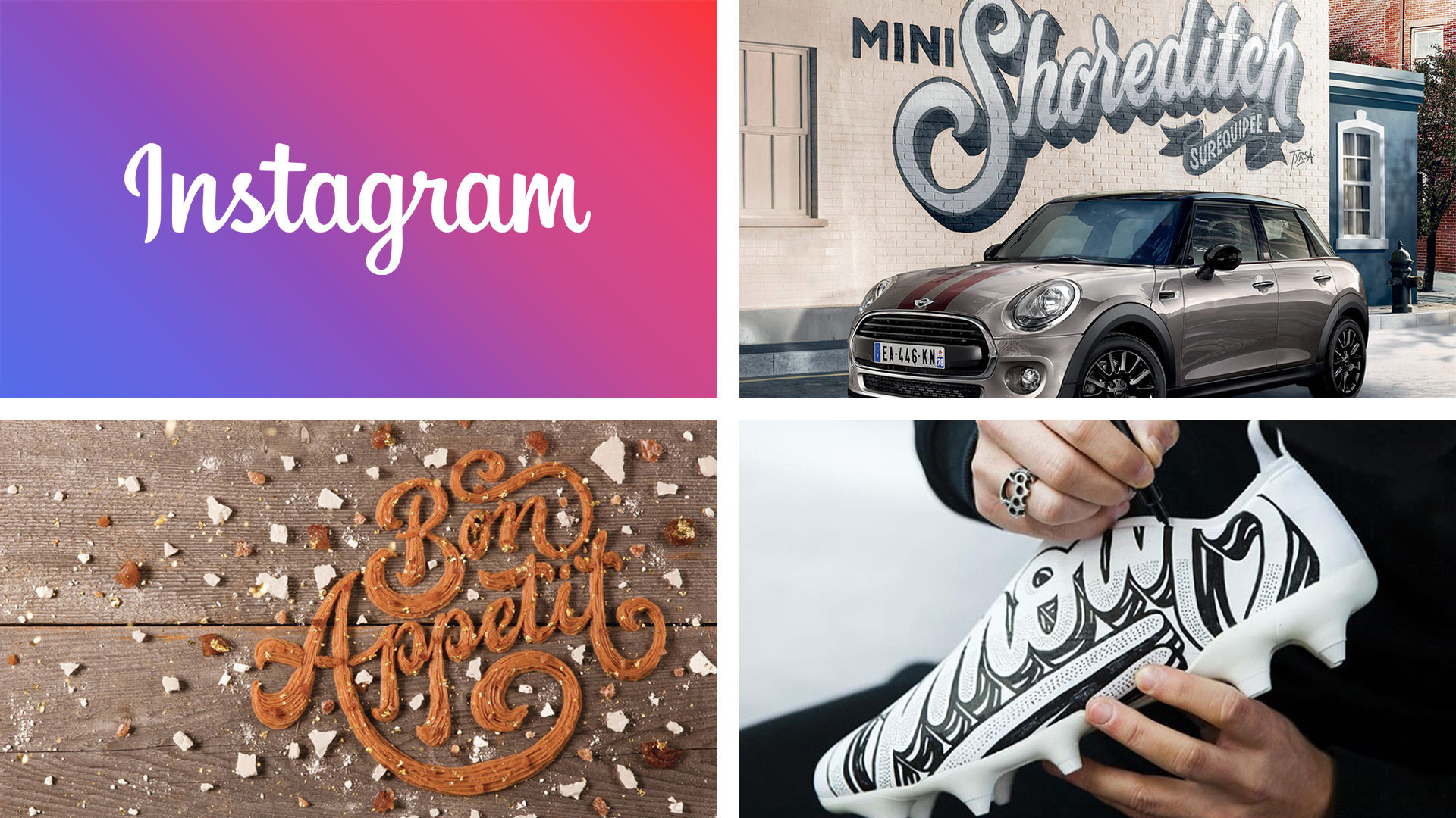 Examples of hand lettering by Instagram, Mini Cooper, Tyrsamisu and Nairone