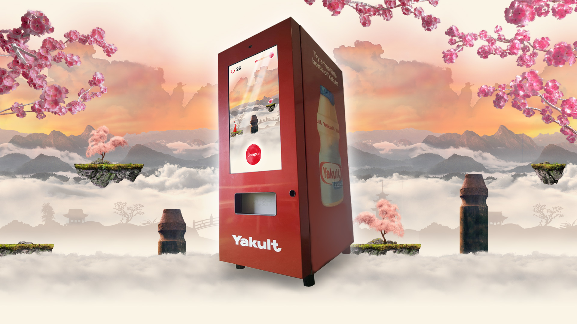 Yakult vending machine with touch screen game