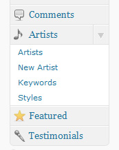 The artists admin panel as seen in the WordPress dashboard